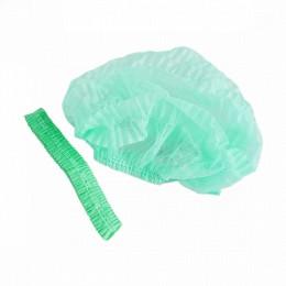 Шапочка на одной резинке из спанбонда, зеленый (100 шт.упак), 21616